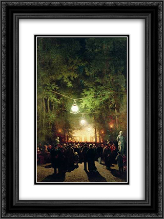 The party in the summer garden 18x24 Black or Gold Ornate Framed and Double Matted Art Print by Efim Volkov