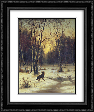 Winter Landscape 20x24 Black or Gold Ornate Framed and Double Matted Art Print by Efim Volkov