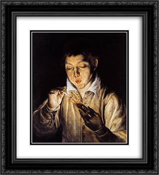 A boy blowing on an ember to light a candle 20x22 Black or Gold Ornate Framed and Double Matted Art Print by El Greco