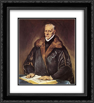 A Prelate 20x22 Black or Gold Ornate Framed and Double Matted Art Print by El Greco