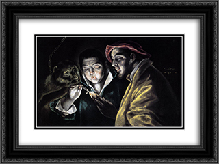 Allegory, boy lighting candle in the company of an ape and a fool - Fabula 24x18 Black or Gold Ornate Framed and Double Matted Art Print by El Greco