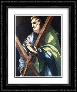 Apostle St. Andrew 20x24 Black or Gold Ornate Framed and Double Matted Art Print by El Greco