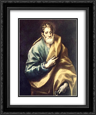 Apostle St. Peter 20x24 Black or Gold Ornate Framed and Double Matted Art Print by El Greco