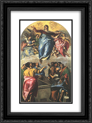 Assumption of the Virgin 18x24 Black or Gold Ornate Framed and Double Matted Art Print by El Greco