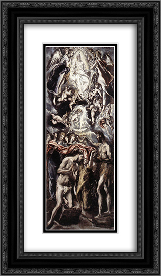 Baptism of Christ 14x24 Black or Gold Ornate Framed and Double Matted Art Print by El Greco