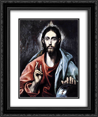 Christ blessing (The Saviour of the World) 20x24 Black or Gold Ornate Framed and Double Matted Art Print by El Greco