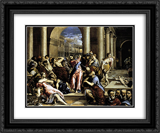 Christ driving the traders from the temple 24x20 Black or Gold Ornate Framed and Double Matted Art Print by El Greco