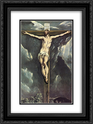 Christ on a cross 18x24 Black or Gold Ornate Framed and Double Matted Art Print by El Greco