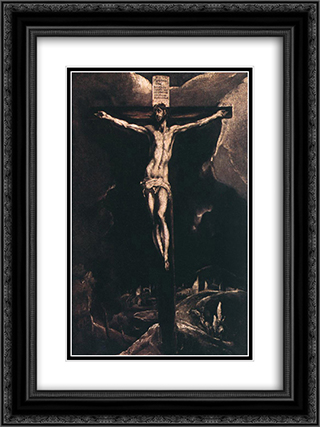 Christ on the cross 18x24 Black or Gold Ornate Framed and Double Matted Art Print by El Greco