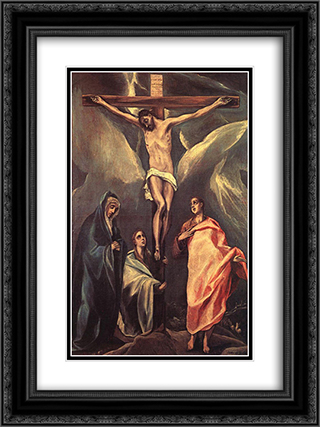 Christ on the cross with two Maries and St. John 18x24 Black or Gold Ornate Framed and Double Matted Art Print by El Greco