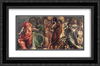 Concert of Angels 24x16 Black or Gold Ornate Framed and Double Matted Art Print by El Greco