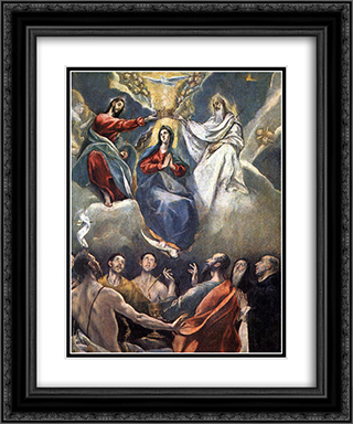 Coronation of the Virgin 20x24 Black or Gold Ornate Framed and Double Matted Art Print by El Greco