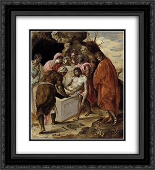 Deposition in the tomb 20x22 Black or Gold Ornate Framed and Double Matted Art Print by El Greco
