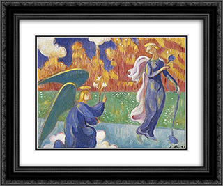 Annunciation 24x20 Black or Gold Ornate Framed and Double Matted Art Print by Emile Bernard