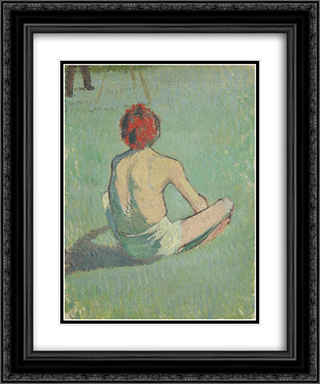 Boy in the grass 20x24 Black or Gold Ornate Framed and Double Matted Art Print by Emile Bernard