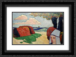 Breton Woman at Haystacks 24x18 Black or Gold Ornate Framed and Double Matted Art Print by Emile Bernard
