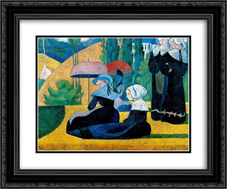 Breton Women with Parasols 24x20 Black or Gold Ornate Framed and Double Matted Art Print by Emile Bernard