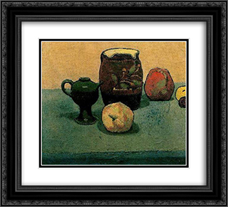 Earthware Pot and Apples 22x20 Black or Gold Ornate Framed and Double Matted Art Print by Emile Bernard