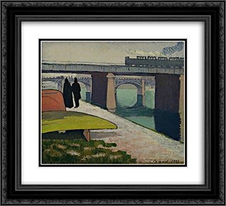 Iron Bridges at Asnieres 22x20 Black or Gold Ornate Framed and Double Matted Art Print by Emile Bernard