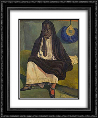 Portrait of a Woman 20x24 Black or Gold Ornate Framed and Double Matted Art Print by Emile Bernard