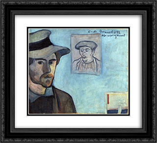 Self-Portrait with Portrait of Gauguin 22x20 Black or Gold Ornate Framed and Double Matted Art Print by Emile Bernard