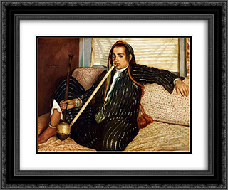 The smoking Hashish 24x20 Black or Gold Ornate Framed and Double Matted Art Print by Emile Bernard