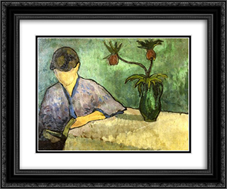 Young Woman in Kimono, Reading 24x20 Black or Gold Ornate Framed and Double Matted Art Print by Emile Bernard