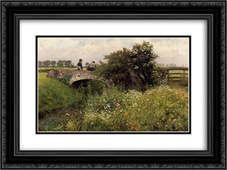 A Meeting on the Bridge 24x18 Black or Gold Ornate Framed and Double Matted Art Print by Emile Claus