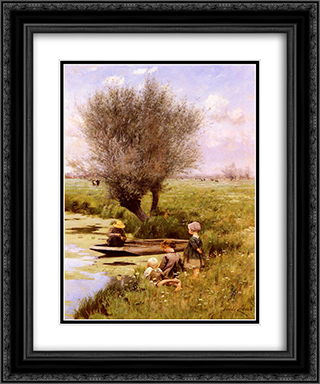 Afternoon Along The River 20x24 Black or Gold Ornate Framed and Double Matted Art Print by Emile Claus