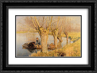 Bringing in the Nets 24x18 Black or Gold Ornate Framed and Double Matted Art Print by Emile Claus
