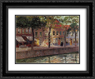 Canal in Zeeland 24x20 Black or Gold Ornate Framed and Double Matted Art Print by Emile Claus