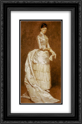 Charlotte Dufaux, in her wedding dress 16x24 Black or Gold Ornate Framed and Double Matted Art Print by Emile Claus