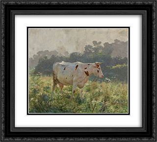 Cow 22x20 Black or Gold Ornate Framed and Double Matted Art Print by Emile Claus
