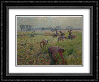 Flax harvesting 24x20 Black or Gold Ornate Framed and Double Matted Art Print by Emile Claus