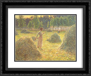 Hay stacks 24x20 Black or Gold Ornate Framed and Double Matted Art Print by Emile Claus