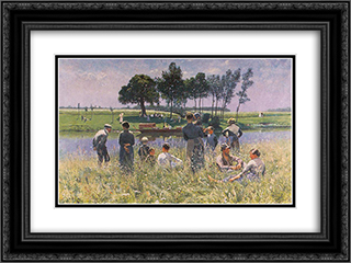 Le Pique-nique 24x18 Black or Gold Ornate Framed and Double Matted Art Print by Emile Claus
