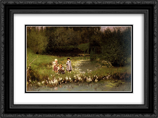 Picking Blossoms 24x18 Black or Gold Ornate Framed and Double Matted Art Print by Emile Claus