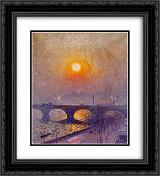 Sunset over Waterloo Bridge 20x22 Black or Gold Ornate Framed and Double Matted Art Print by Emile Claus