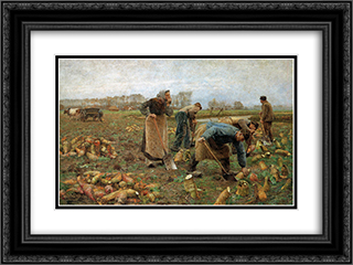 The Beet Harvest 24x18 Black or Gold Ornate Framed and Double Matted Art Print by Emile Claus