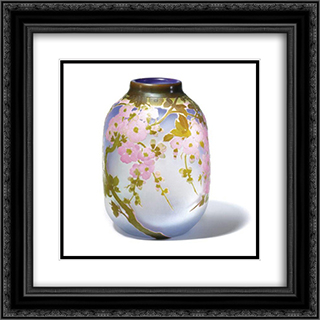 Apple Blossom Vase 20x20 Black or Gold Ornate Framed and Double Matted Art Print by Emile Galle