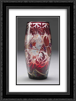 Cigales Vase 18x24 Black or Gold Ornate Framed and Double Matted Art Print by Emile Galle