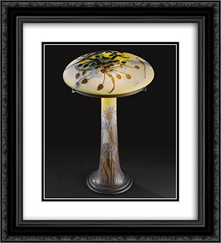 Dragonfly Table Lamp 20x22 Black or Gold Ornate Framed and Double Matted Art Print by Emile Galle