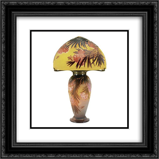 Hibiscus Lamp 20x20 Black or Gold Ornate Framed and Double Matted Art Print by Emile Galle