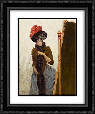 In front of the swing mirror 20x24 Black or Gold Ornate Framed and Double Matted Art Print by Emile Galle