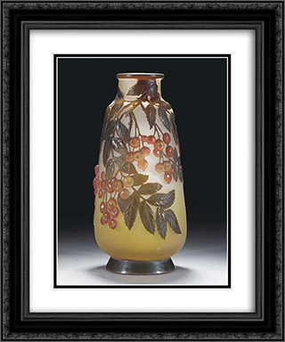 Mould-Blown Cameo Glass Vase 20x24 Black or Gold Ornate Framed and Double Matted Art Print by Emile Galle