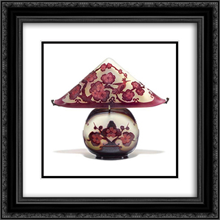 Pagoda Lamp 20x20 Black or Gold Ornate Framed and Double Matted Art Print by Emile Galle
