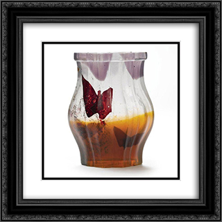 Papillon Verre Parlant Vase 20x20 Black or Gold Ornate Framed and Double Matted Art Print by Emile Galle