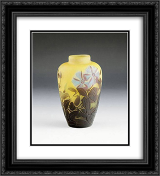 Vase mit Clematisbluten 20x22 Black or Gold Ornate Framed and Double Matted Art Print by Emile Galle