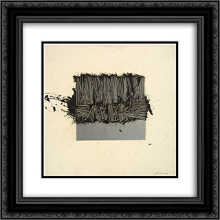Protetto a meta 20x20 Black or Gold Ornate Framed and Double Matted Art Print by Emilio Scanavino
