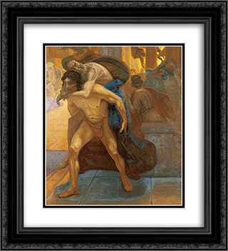 Aeneas saving his father through the flames of Troy 20x22 Black or Gold Ornate Framed and Double Matted Art Print by Emmanuel Zairis